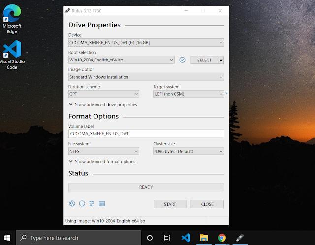 Boot Windows 10 into USB Drive Using Rufus