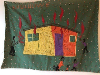 "Florence Mdlolo, ""Khululiwe"", Amazwi Abesifasane (Voices of Women) project, 2000-1, embroidered cloth, 28 x 41 cm Create Africa South, Durban"