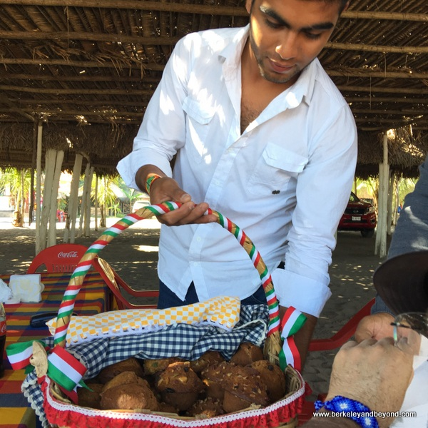 basket of banana-bread muffins at Garza Blanca restaurant on Las Islitas in San Blas on Riviera Nayarit in Mexico