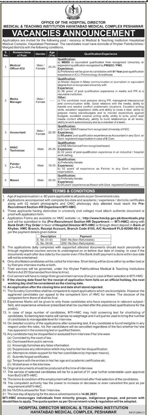 Medical & Teaching Institution (MTI) Hayatabad Medical Complex Jobs 2021 in Pakistan