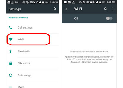 Check Wi-Fi network or mobile data