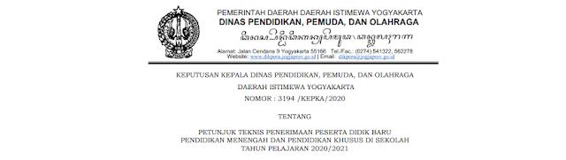 Zonasi dan Juknis PPDB SMAN SMKN Provinsi Daerah Istimewa Yogyakarta  JADWAL ZONASI DAN JUKNIS PPDB SMAN SMKN SE PROVINSI YOGYAKARTA TAHUN PELAJARAN 2020/2021