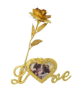 Gold Plated Gold Rose with Gift Box and With Love Stand With Photo Frame