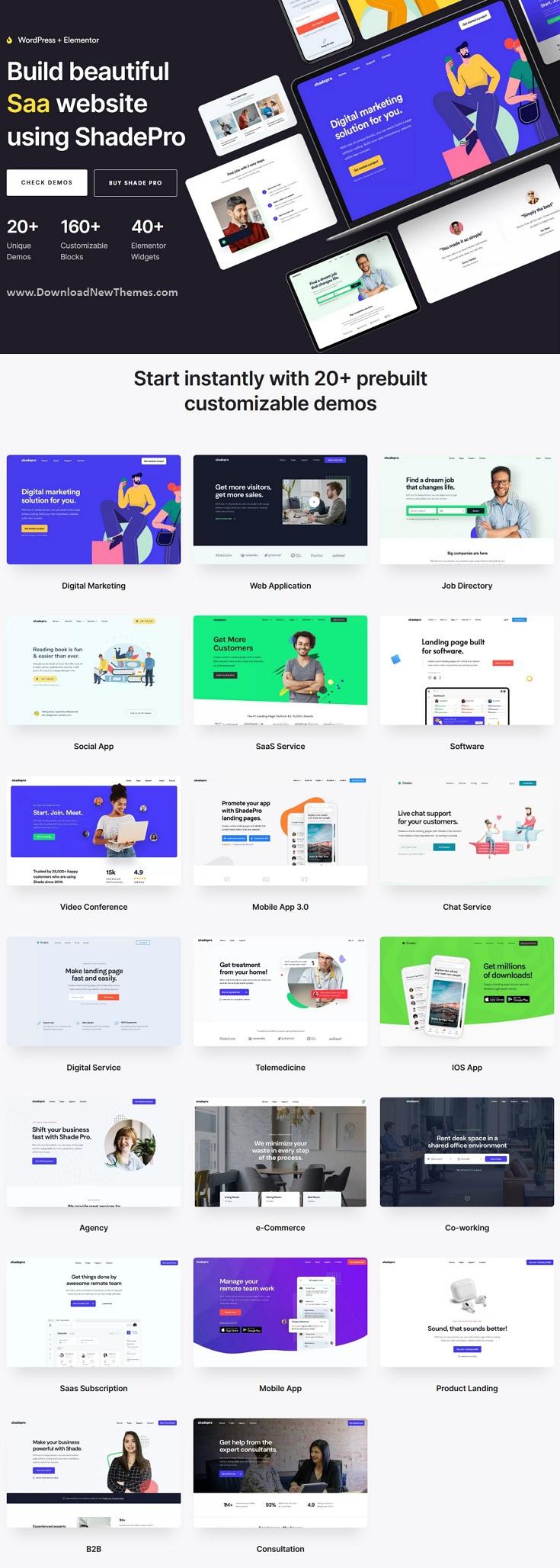 ShadePro Startup & SaaS WordPress Theme