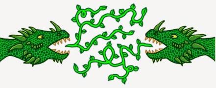 Illusztráció gyerekvershez, címeren, zászlón szereplő, tűz helyett leveles ágakat fújó, pikkelyes, szarvas, tüskés zöld sárkány két szörnyű fejéről.