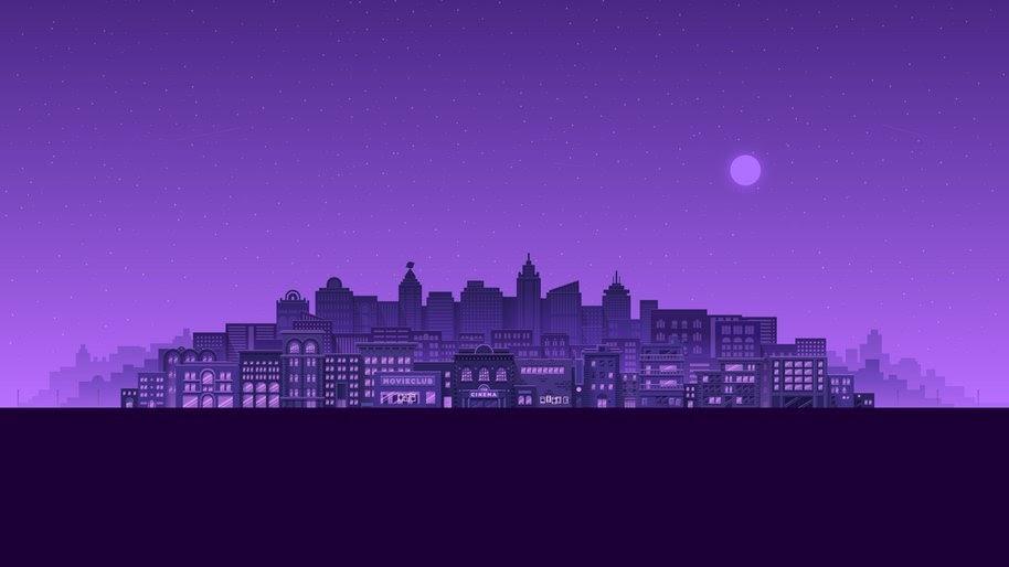 City, Buildings, Cityscape, Night, Digital Art, Minimalist ...