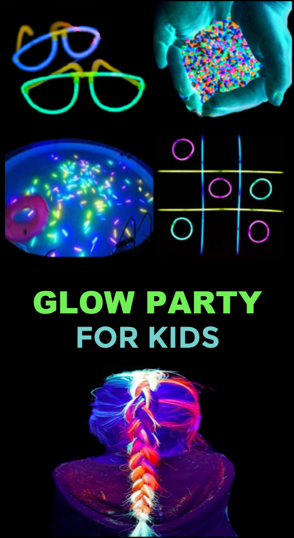 Throw the ultimate glowing party for kids with this collection of ideas! #glowinthedarkpartyideas #glowinthedark #blacklightparty #uvpartyideas #growingajeweledrose #activitiesforkids