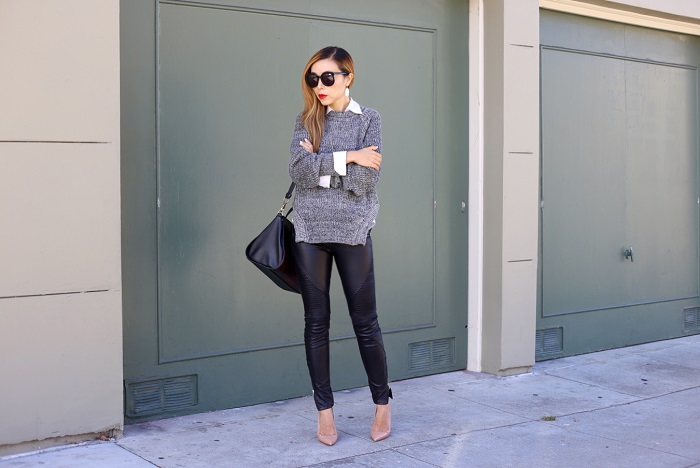 Chicwish grey sweater, blank denim moto pants, christian louboutin so kate, alexander wang bag, karen walker super duper sunglasses, kendra scott earrings, Gorjana necklace, street style, nyc blogger, sweater season, fall fashion