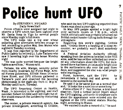 Police Hunt UFO - Pacific Daily News 7-31-1980