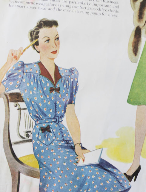 1930s womens fashion magazine dress ad in color