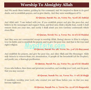 Worship To Almighty Allah