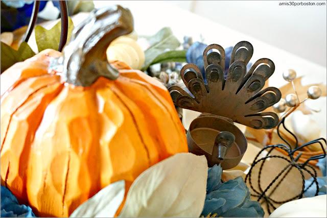 Portavelas con forma de Pavo en mi Centro de Mesa de la Cena de Acción de Gracias