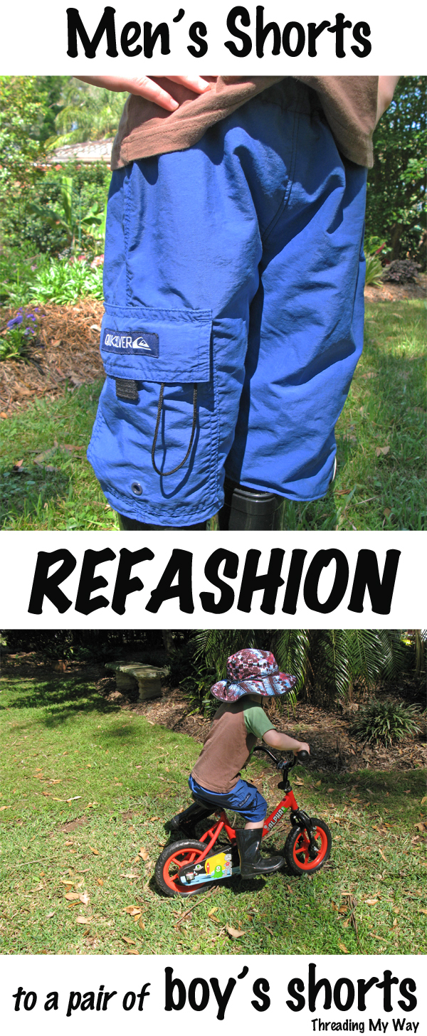 Refashion a pair of men's boardshorts to a pair of boy's shorts... a very easy project ~ Threading My Way