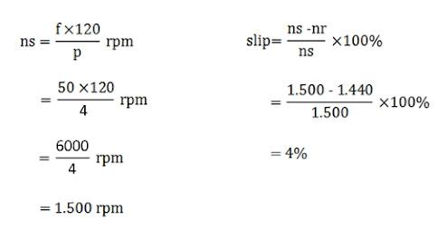 contoh perhitungan mencari kecepatan putar rotor mesin listrik 3 phase