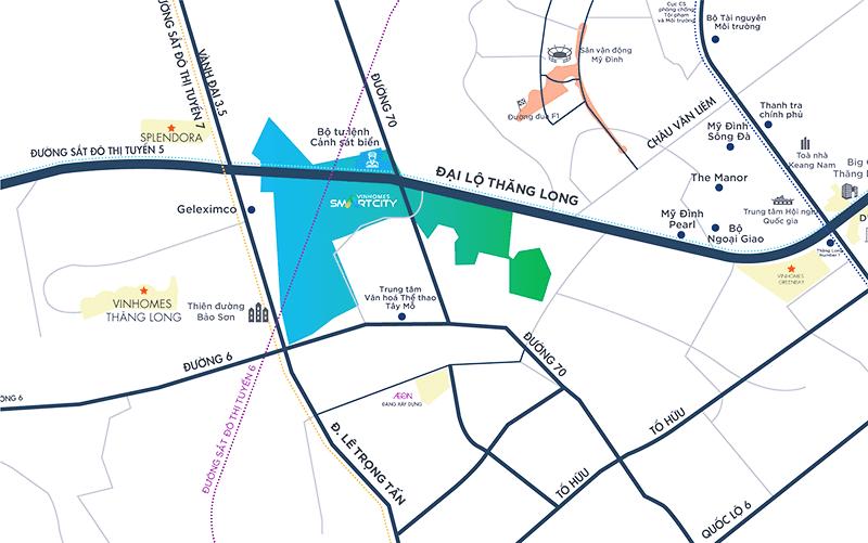 Bản đồ giao thông Vinhomes Smart City