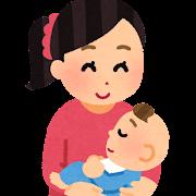 ひざの上で赤ちゃんを抱く母親のイラスト