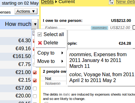 Copy/move an expenses sheet