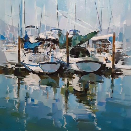 Картина с яхтами, холст, масло