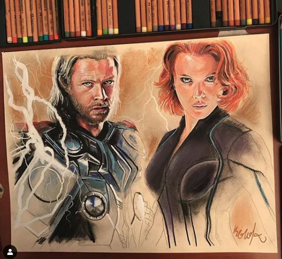 Dibujo de Thor y la Viuda Negra