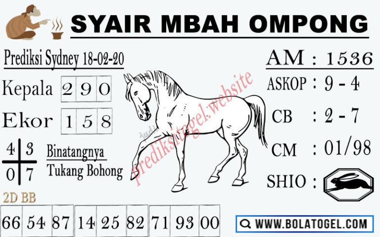 Prediksi Togel Sidney JP 18 februari 2020 - Syair Mbah Ompong