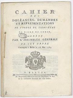 cahier de doléances, Bastia