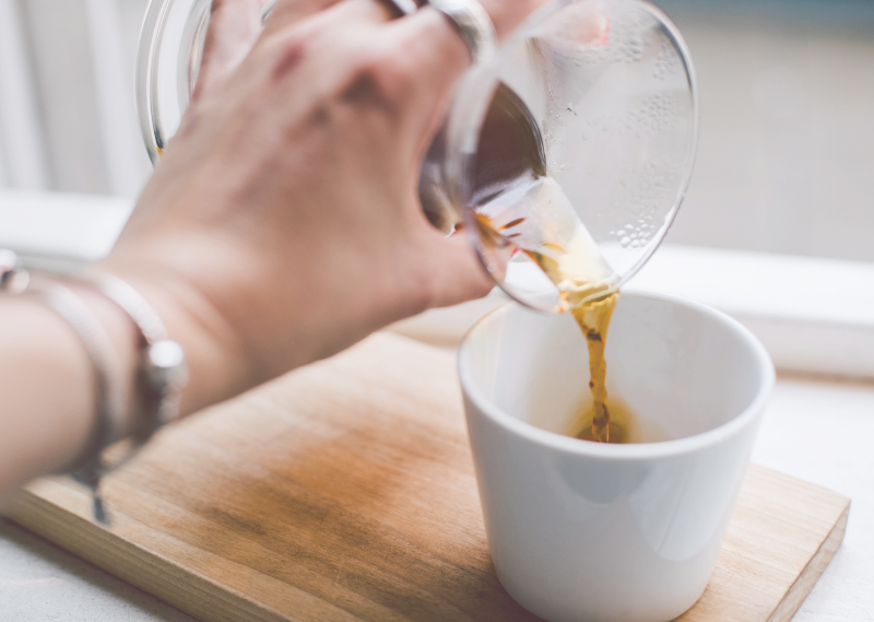 Pouring a coffee in a post about five ways to look after your wellbeing during lockdown.