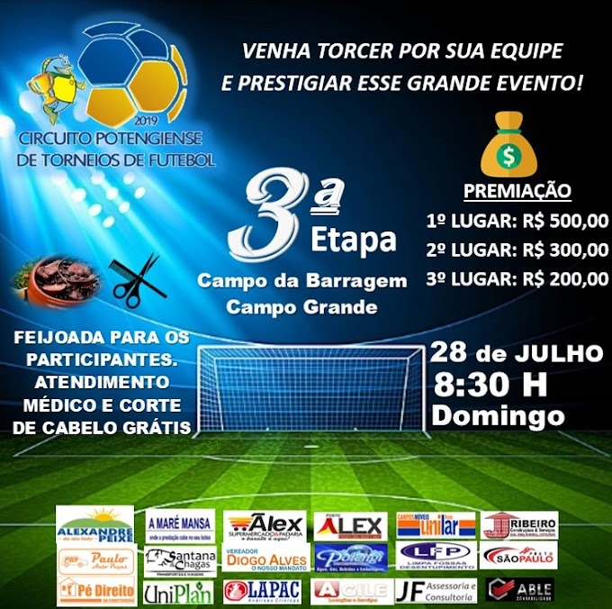 São Paulo do Potengi: Neste domingo dia (28) tem a 3° edição do circuito potengiense de torneios de futebol