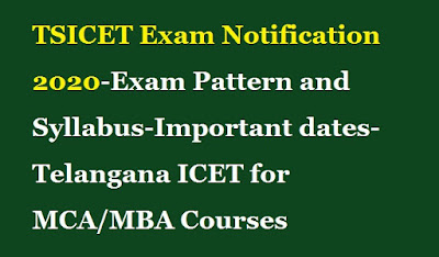 TSICET Exam Notification 2020-Exam Pattern and Syllabus-Important dates-Telangana ICET for MCA-MBA Courses