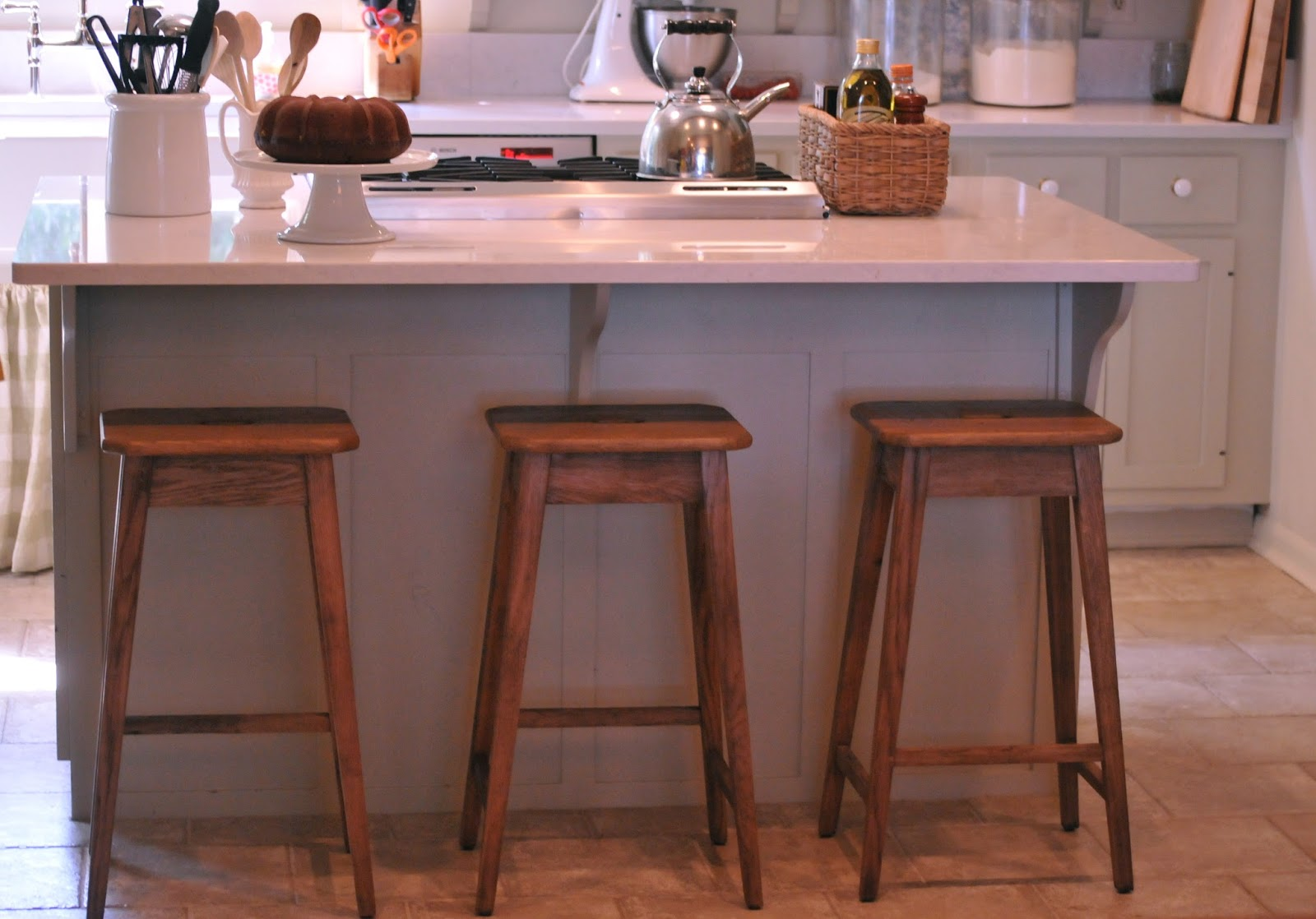 kitchen counter chairs salvaged cabinets nine 43 sixteen our home new stools