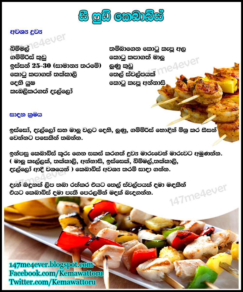 Seafood kebabs 147me4ever food recipeslanka recipes food making process sinhala english cookery classrecipe forumfinder Images