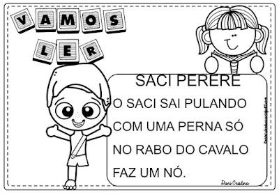 Atividades de alfabetização Saci