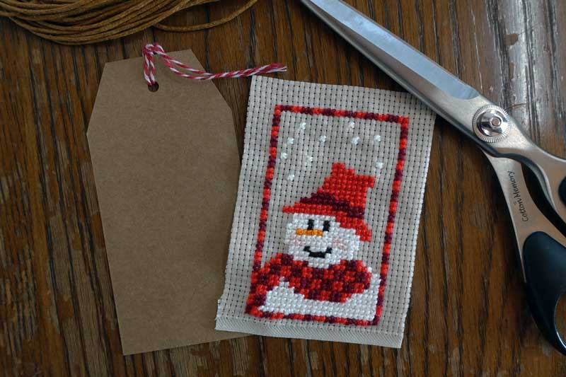 cross stitch gift tag materials