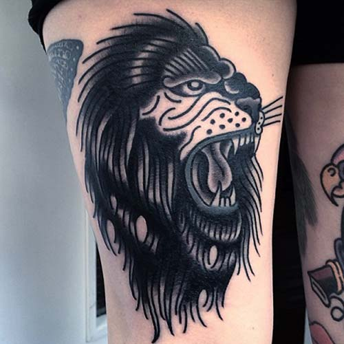 black wild lion tattoo siyah vahşi aslan dövmesi