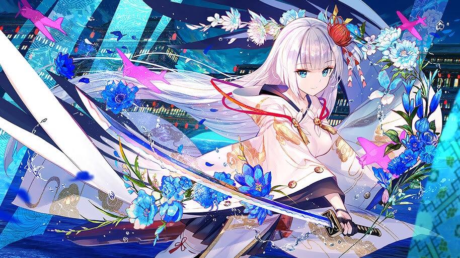 Anime, Girl, Katana, Kimono, Fantasy, 4K, #261