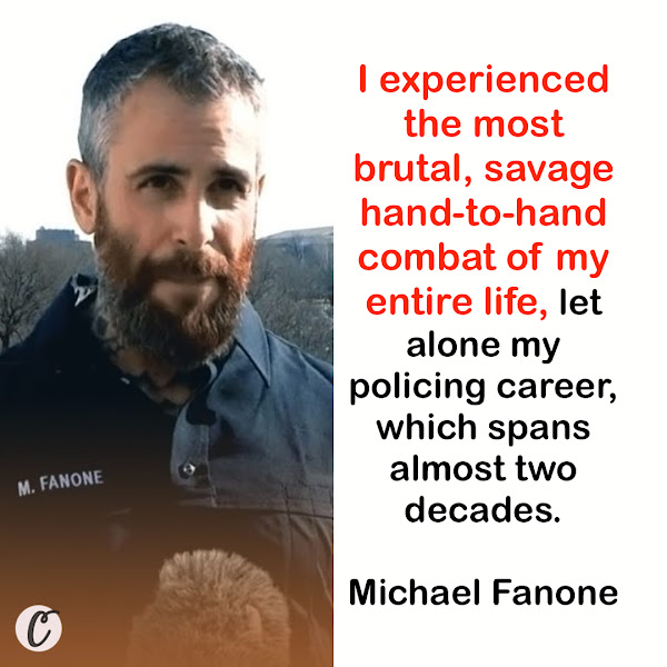 I experienced the most brutal, savage hand-to-hand combat of my entire life, let alone my policing career, which spans almost two decades. — Michael Fanone, Washington, DC Metropolitan Police officer
