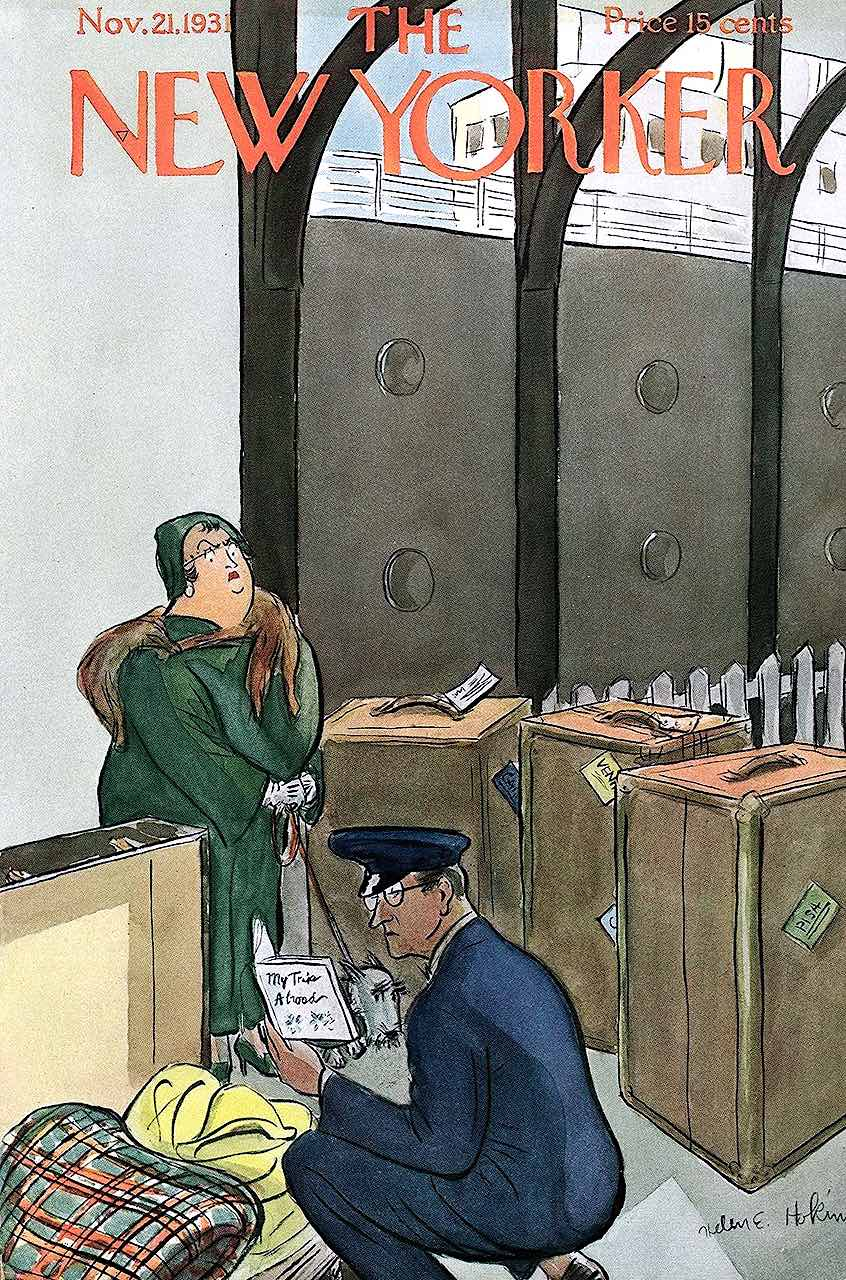 a Helen E. Hokinson cartoon, for the  Nov 21 1931 cover of The New Yorker magazine, border customs cartoon
