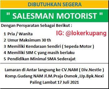 Lowongan Kerja CV NAM Sebagai Salesman Motorist