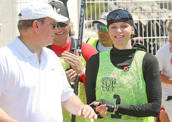 Princess Charlene, Gareth Wittstock, Prince Albert joined the Riviera Sup Race at Larvotto beach, Monaco