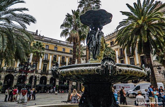 Plaça Reial, no Bairro Gótico de Barcelona