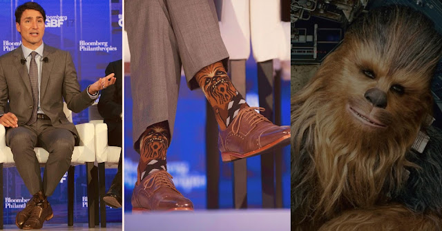 Primeiro-ministro do Canadá faz sucesso na web ao usar meias do Chewbacca