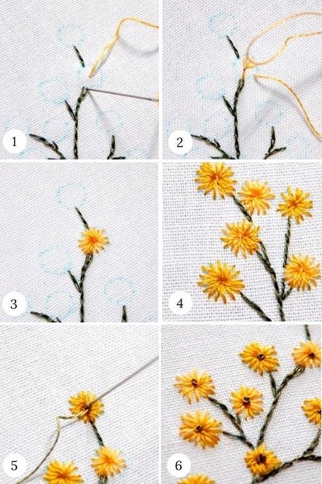 Hướng dẫn thêu bông hoa bằng mũi thêu thẳng