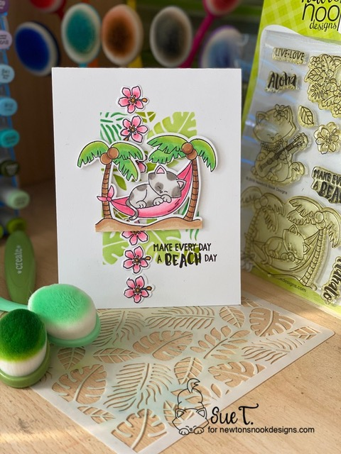 Make everyday a beach day  by Aloha Newton and Tropical Leaves by Newton's Nook Designs; #newtonsnook, #inkypaws, #cardmaking, #catcard, #tropicalcard
