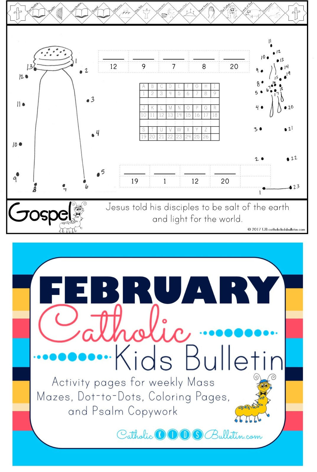 1 Salt and Light Catholic Kids Bulletin Coloring Page Matthew 5.13-16