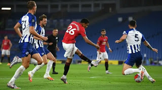 The 18-year-old forward Mason Greenwood is the first Manchester United player to score his sixth Premier League goals before his 19th birthday. The youngest player of any club to score at all in the competition this season, Greenwood has twice as many goals any teenager. This is a precocious talent. Greenwood cut inside to score his sixth Premier League goal of the season.