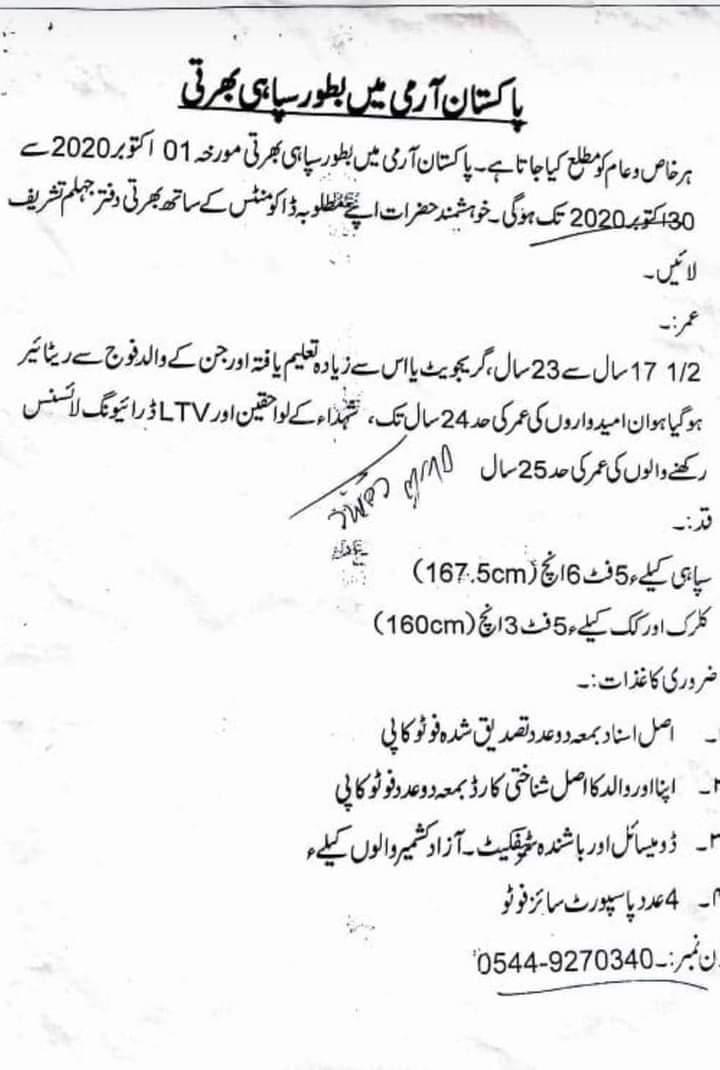 Pak Army Jobs 2020
