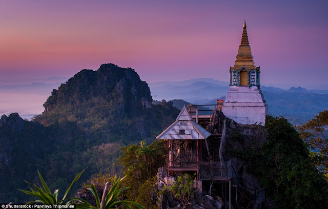 The pagoda in Lampang, Thailand may not be the prettiest on this list, but its location is great.