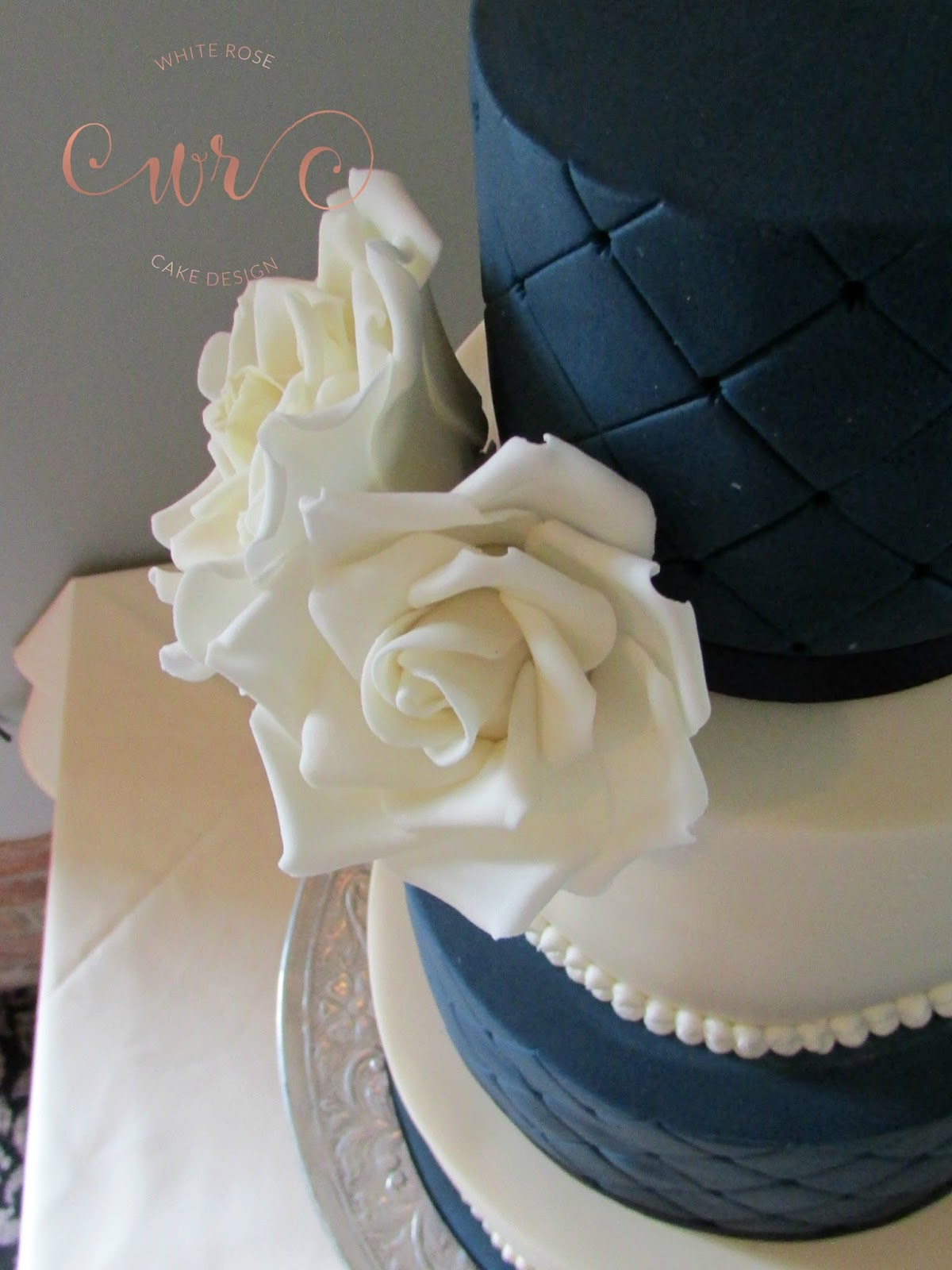 Ivory And Navy Wedding Cake By White Rose Design