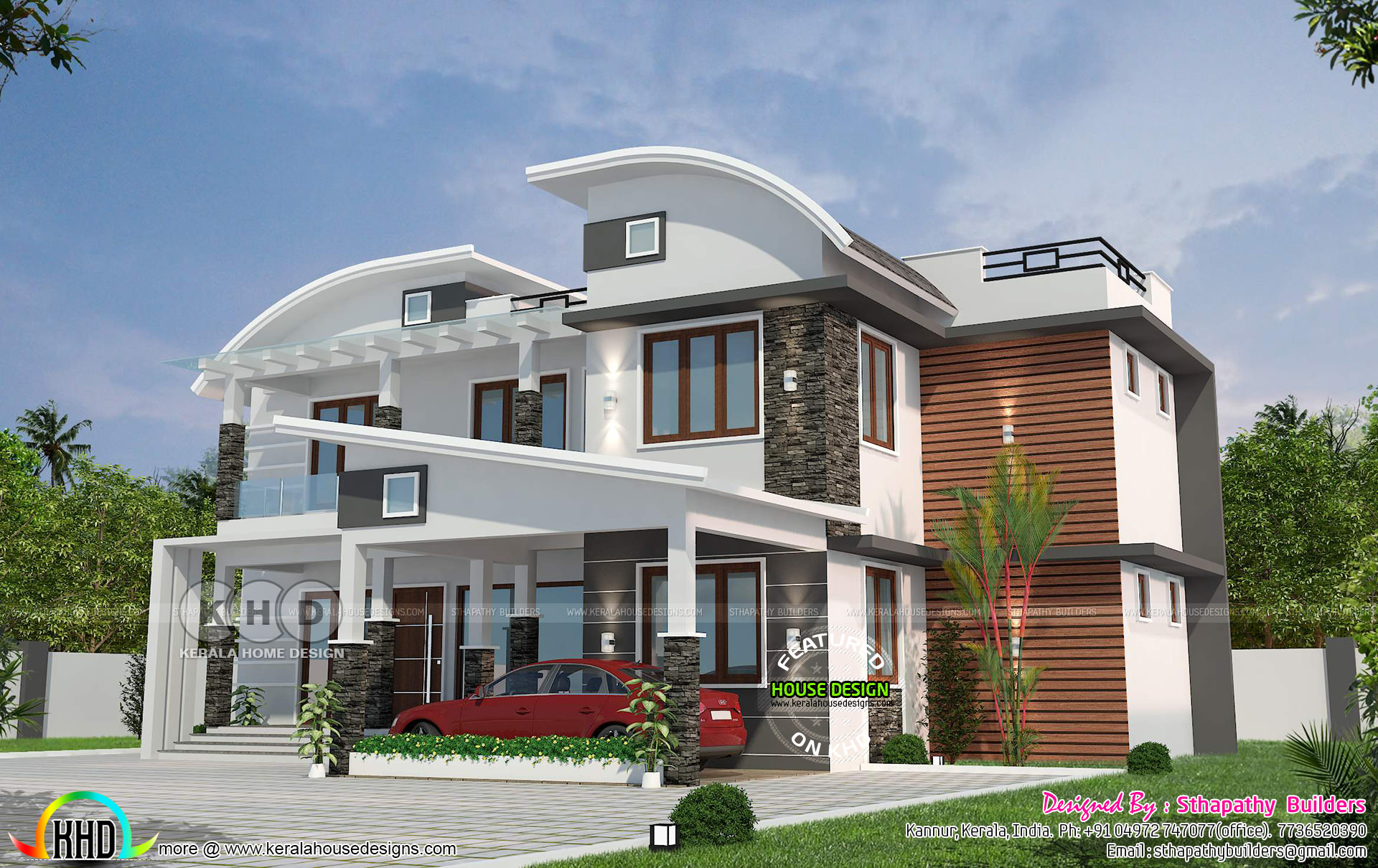 Mix Roof Ultra Modern House With 4 Bedrooms In Kerala