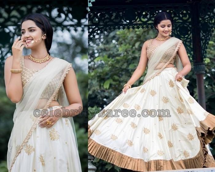 9549fd349134a5 Anupama Parameshwaran Off White Saree - Saree Blouse Patterns