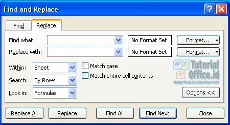 Find & repalce di Excel